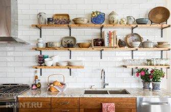 Кухни с открытыми полками