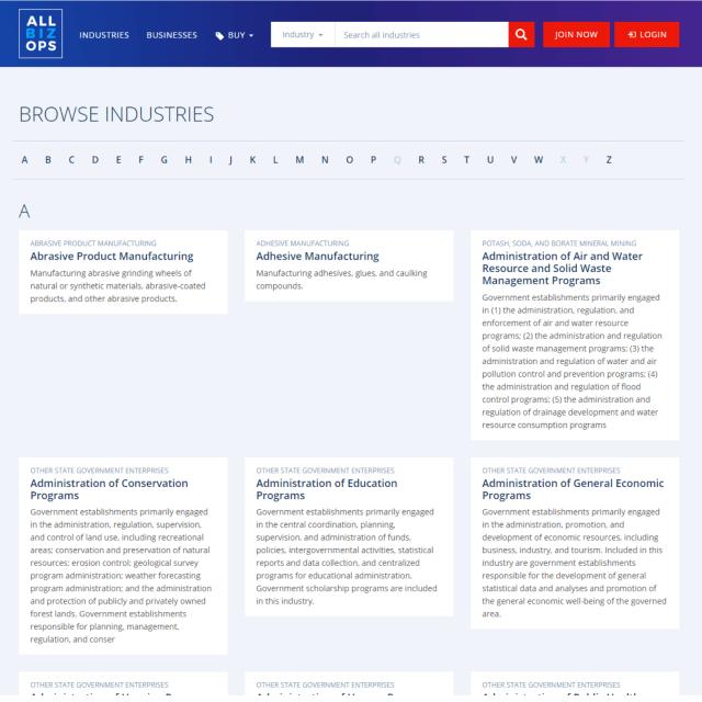 AllBizOps Explorer - Browse Industries