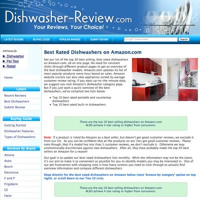 Custom website design for product reviews
