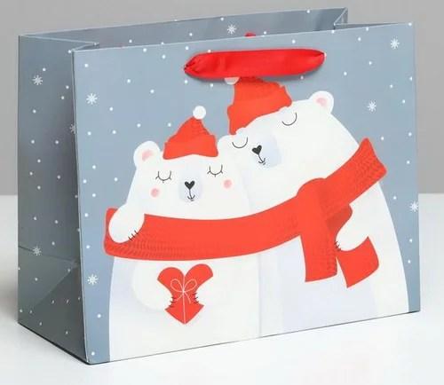 """Ламинированный новогодний пакет """"Мишки"""""""