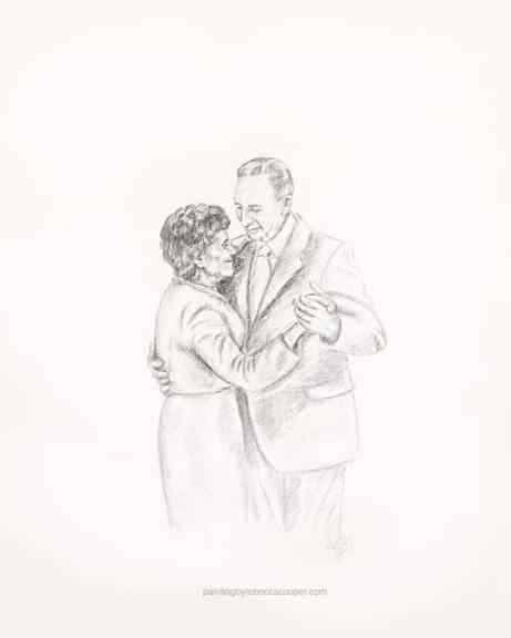 My Grandma & Grandpa at their 50th Anniversary - sketch by my sister in-law Becky