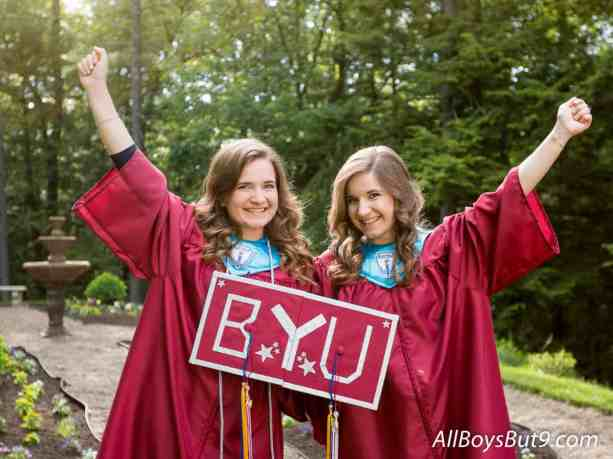 Emily and Anna in graduation cap and gown