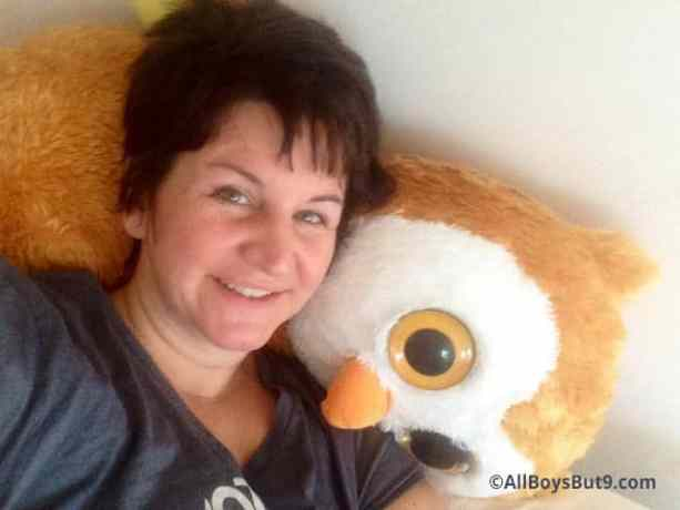 One more pic the children caught of me before breakfast in bed. They were laughing that I had actually slept on Clara's owl all night.