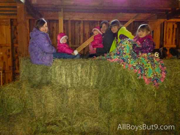 6 sisters sitting on hay bales