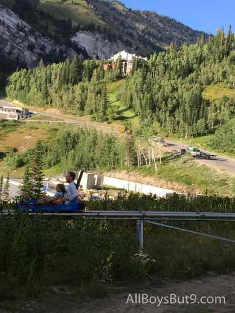 Mike and Clara riding the Mountain Coaster!
