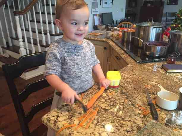 Adelynn peeling carrots