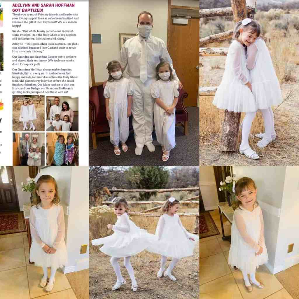Eight year old twin girls, Adelynn and Sarah, featured on their baptism day all dressed in white. One picture with parents, grandparents, Individually and