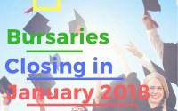 South African Bursaries Closing in January 2018