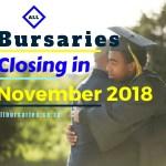 Bursaries Closing in November 2018