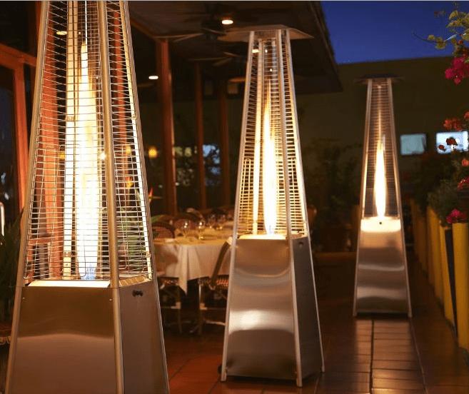 pyramid glass flame patio heater