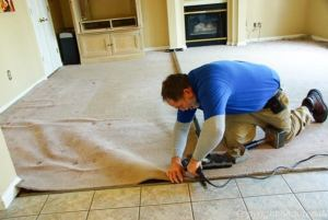 carpet stretching. Extra carpet From Power Stretching