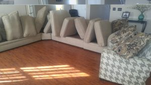 Upholstery cleaning sectional before after results