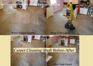 Carpet Cleaning by deep scrubbing and heavy pre-spray. Before and after