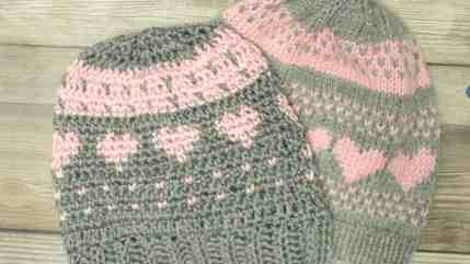Crochet a Knit Stitch and Fair Isle Hearts Hat - All Crafts Channel 6dcd7572b66