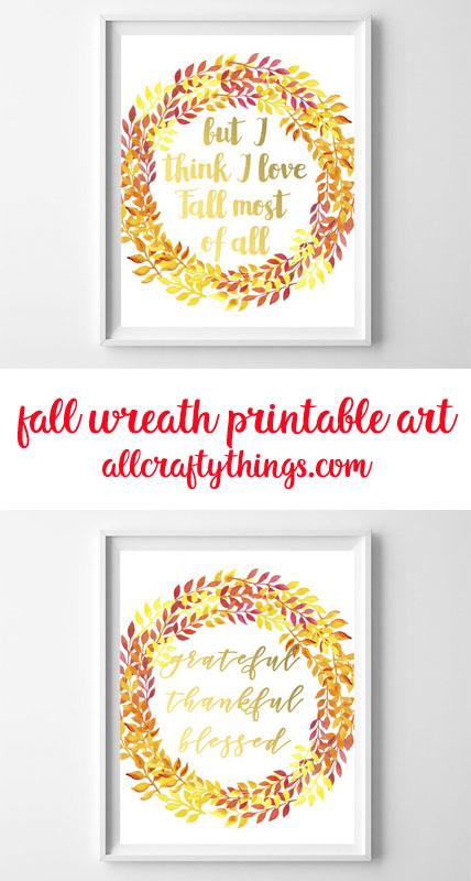 fall wreath printable art