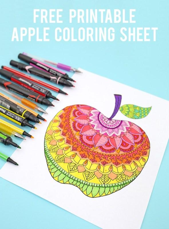 Apple Coloring Sheet Via Lines Across