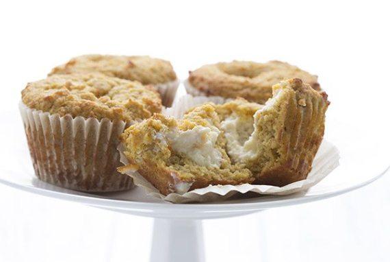 Gluten-free pumpkin muffins with a sugar-free cream cheese center