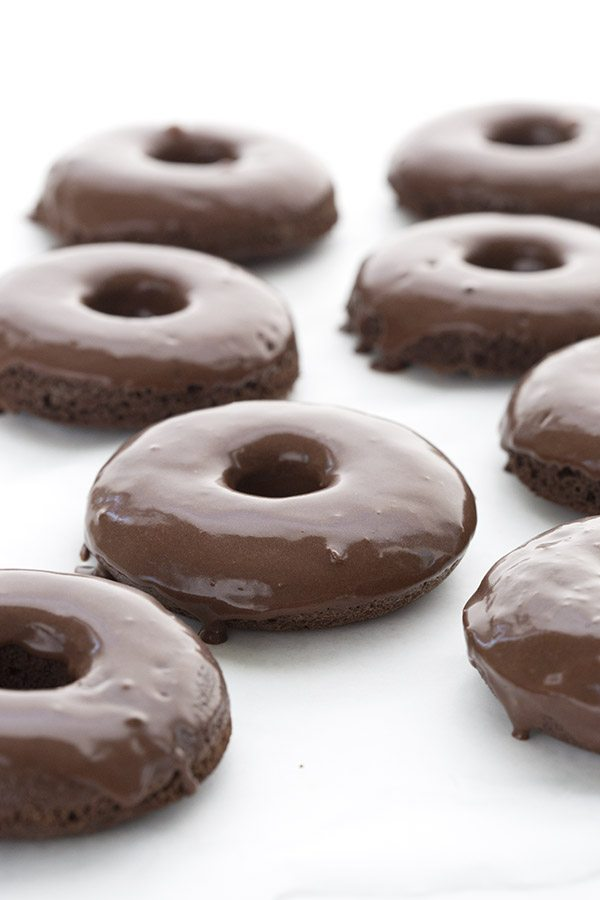 Chocolate dipped chocolate donuts - low carb and gluten free.