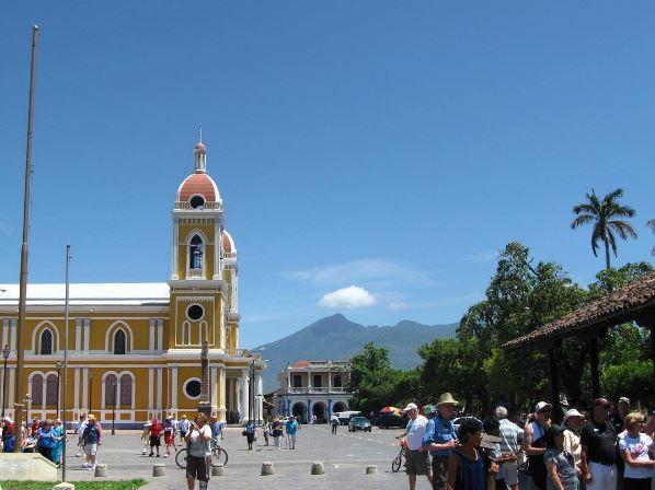 The main plaza in Granada, Nicaragua