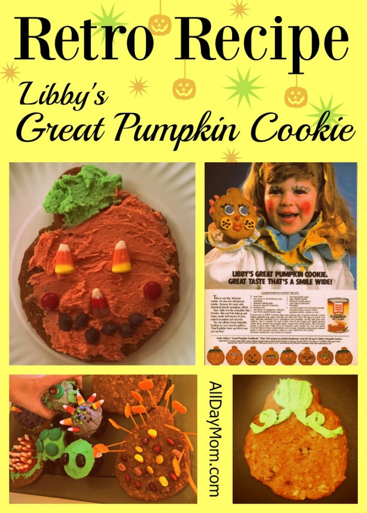 Libby's Great Pumpkin Cookie recipe -- Get this retro Halloween recipe at All Day Mom! Pumpkin chocolate chip oatmeal cookies!