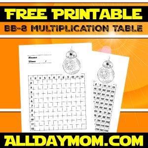 Free Printable Star Wars Math Worksheets! BB-8 Multiplication Table Worksheet