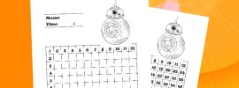 Free Printable Star Wars Math Worksheets! BB-8 Multiplication Table Worksheet - The Force Awakens - Homeschool Math Worksheets - All Day Mom