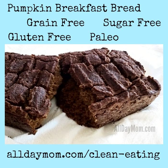 Get the Pumpkin Breakfast Bread recipe at All Day Mom! This healthy pumpkin bread is sugar free, gluten free, grain free, and Paleo!