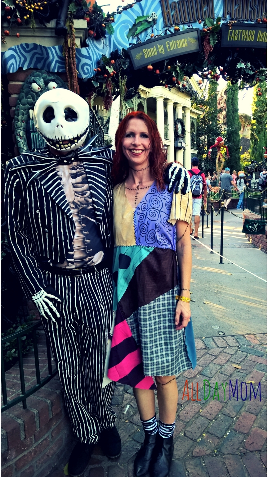 How to make an easy and amazing DIY Sally Costume and DIY Jack Costume for Halloween  sc 1 st  Day Mom & DIY Sally Costume Nightmare Before Christmas - 10 Disneyland Tips ...