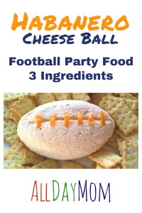 Here's an easy recipe for a football party that just takes 2 minutes and 3 ingredients! Football Cheese Ball: it's spicy! Habanero Cheese Ball