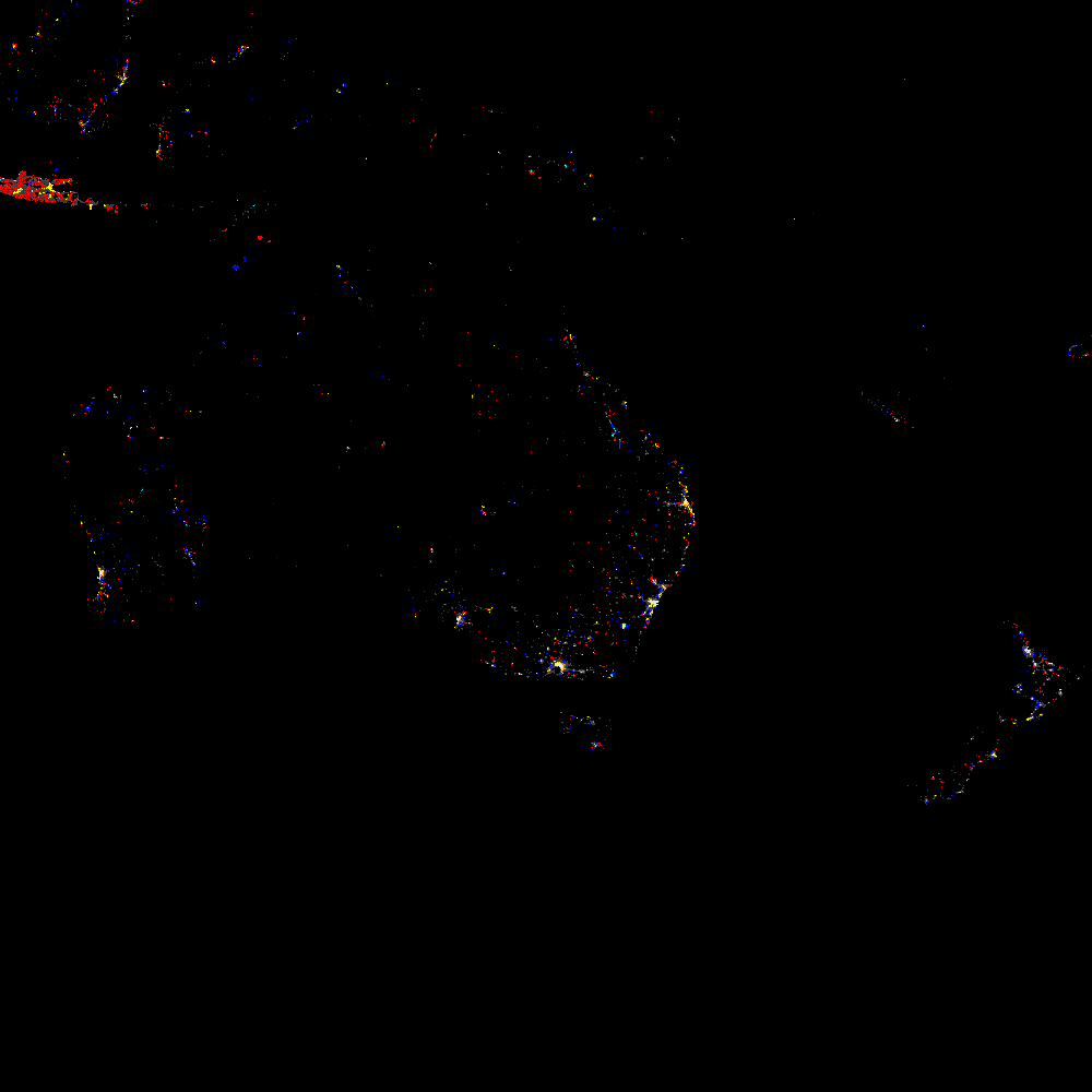 Мировая карта ночных огней. Вид из космоса за 1993 - 2003 годы