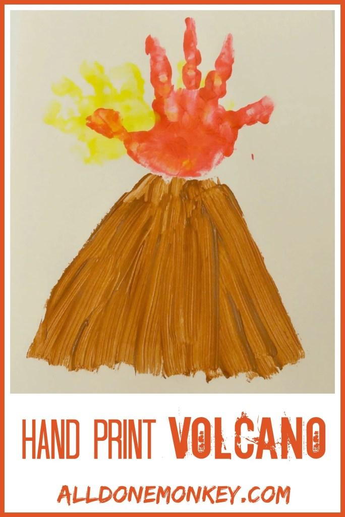 Hand Print Volcano Card - Alldonemonkey.com