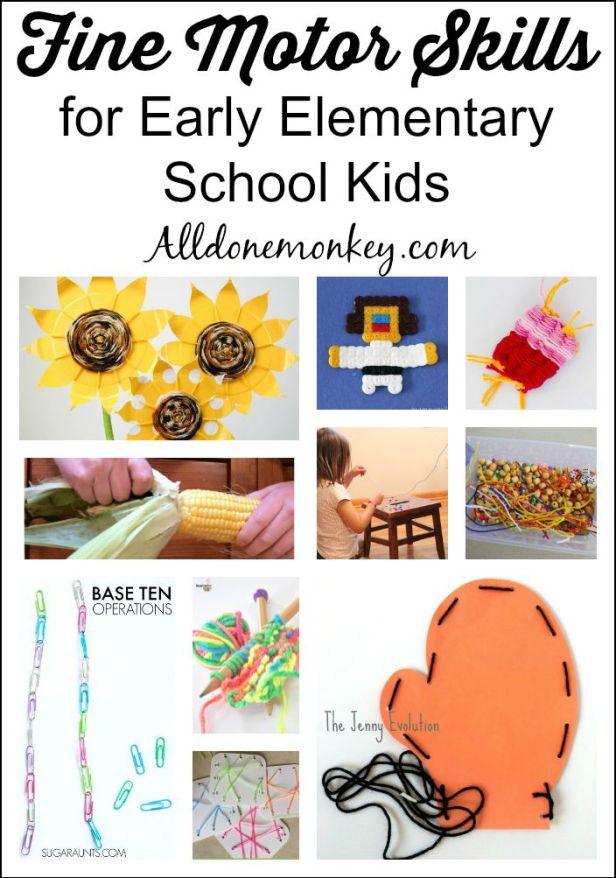Fine Motor Skills for Early Elementary School Kids | Alldonemonkey.com