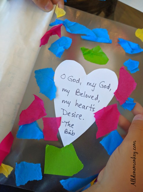 Stained Glass Heart Craft for the Birth of the Bab | Alldonemonkey.com