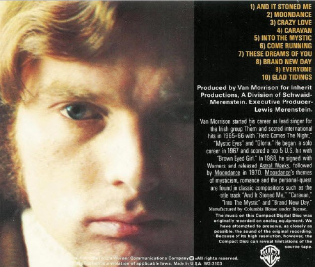 van morrison moondance album back