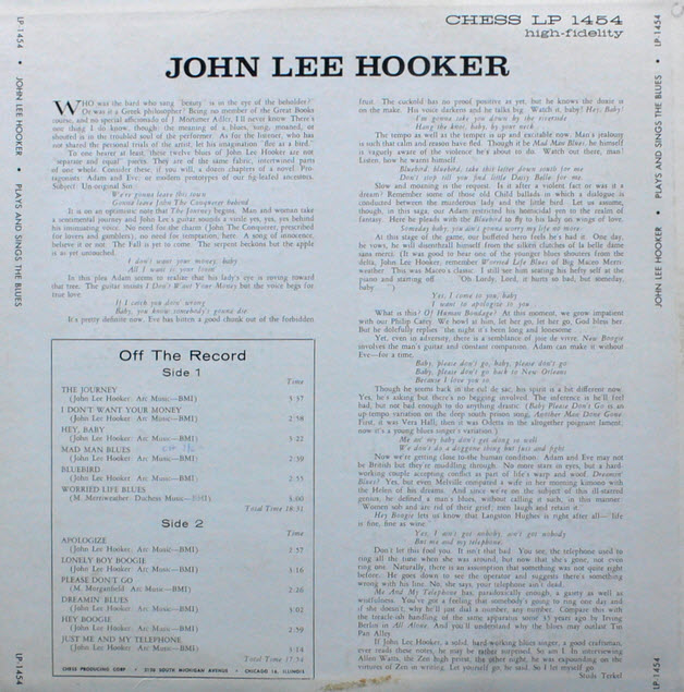 John Lee Hooker Plays and Sings the Blues back
