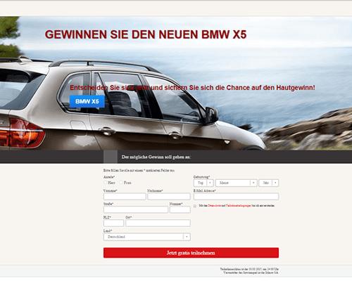 Betrug / Scam: BMW X5 gewinnen