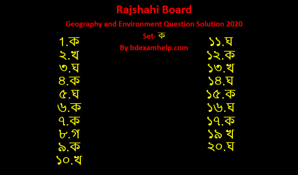 SSC Geography and Environment MCQ Question 2020 Answer