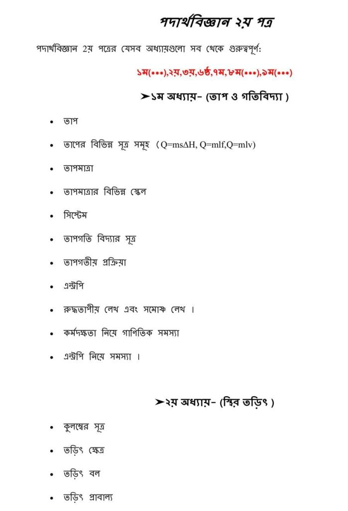 HSC Chemistry (1st & 2nd) Paper Suggestion 2020 PDF Download
