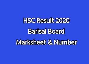 HSC Result 2020 Barisal Board Marksheet