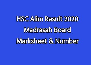 HSC Alim Result 2020 Madrasah Board Marksheet