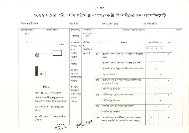 Class 11 Assignment Physics 2021 For HSC Exam 2022