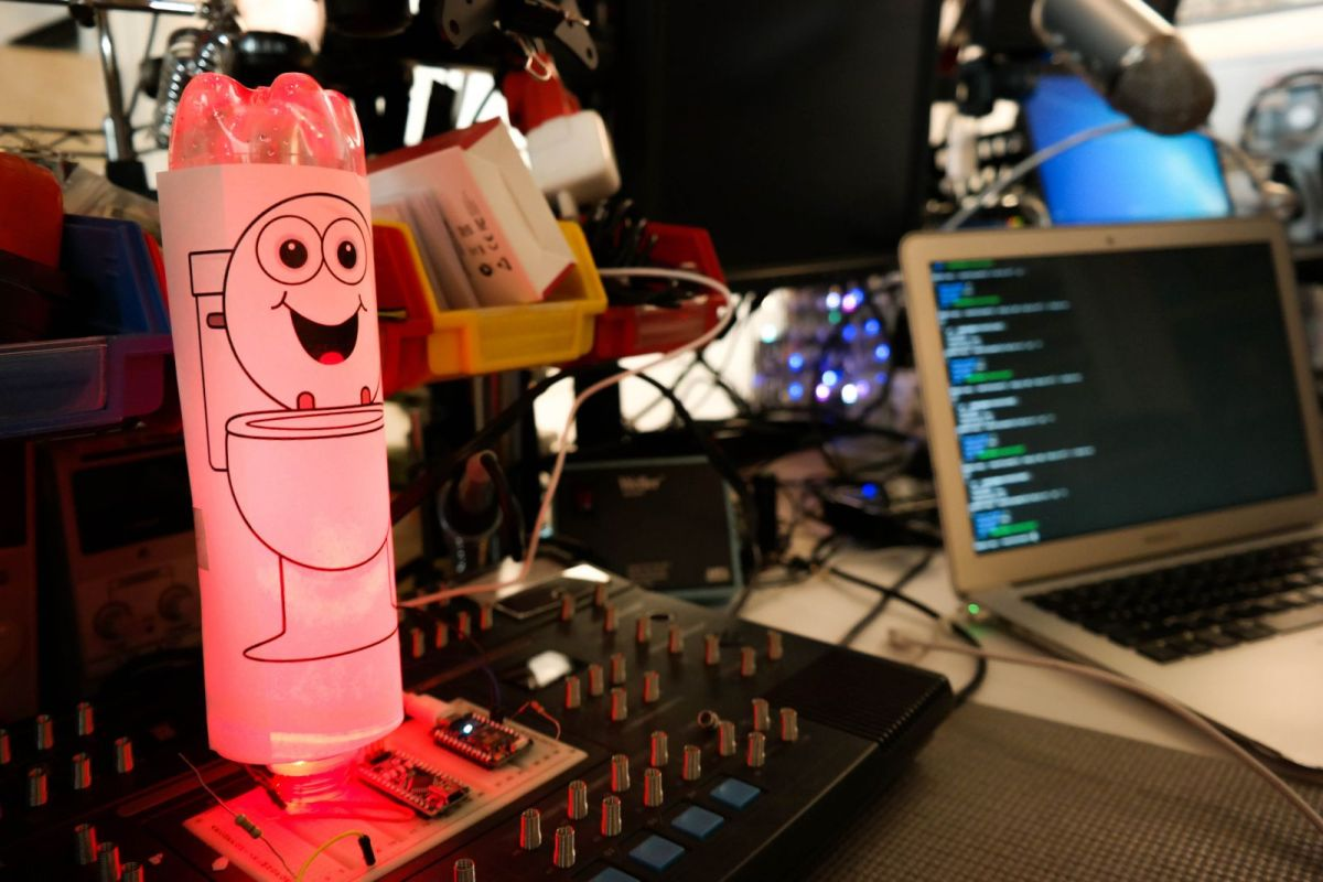 """The current incarnation of Robert's """"Happy Toilet"""" protoype. Photo: Lou Blouin"""