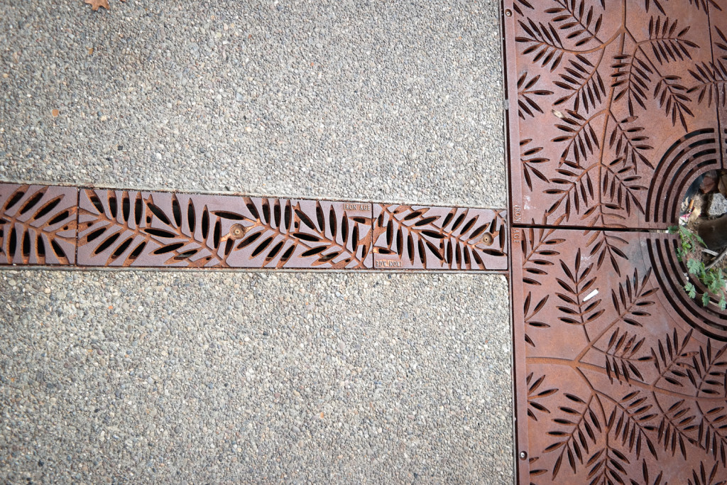Walk along the downtown stretches of Butler Street and you'll see evidence of Etna's new approach to stormwater: A foot-wide, iron grate now snakes down the sidewalk, transforming the normally impermeable walkway into a path where water can slowly filter into the ground. Photo: Lou Blouin