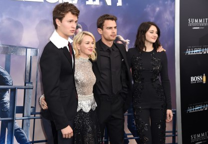 "NEW YORK, NEW YORK - MARCH 14: (L-R) Actors Ansel Elgort, Naomi Watts, Theo James, and Shailene Woodley attend the New York premiere of ""Allegiant"" at the AMC Lincoln Square Theater on March 14, 2016 in New York City. (Photo by Nicholas Hunt/Getty Images)"