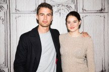 """NEW YORK, NY - MARCH 14: Theo James and Shailene Woodley discuss their film """"Allegiant"""" during AOL Build Speaker Series at AOL Studios In New York on March 14, 2016 in New York City. (Photo by Jenny Anderson/FilmMagic)"""