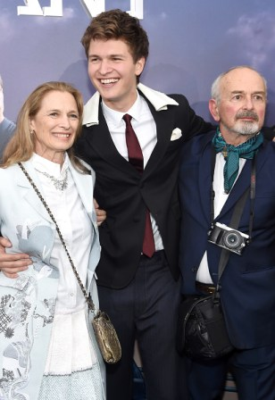 "NEW YORK, NEW YORK - MARCH 14: (L-R) Grethe Barrett Holby, Ansel Elgort, and Arthur Elgort attend the New York premiere of ""Allegiant"" at the AMC Lincoln Square Theater on March 14, 2016 in New York City. (Photo by Jamie McCarthy/Getty Images)"