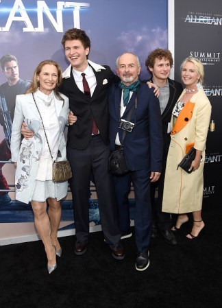 "NEW YORK, NEW YORK - MARCH 14: (L-R) Grethe Barrett Holby, Ansel Elgort, and Arthur Elgort and family members attend the New York premiere of ""Allegiant"" at the AMC Lincoln Square Theater on March 14, 2016 in New York City. (Photo by Jamie McCarthy/Getty Images)"