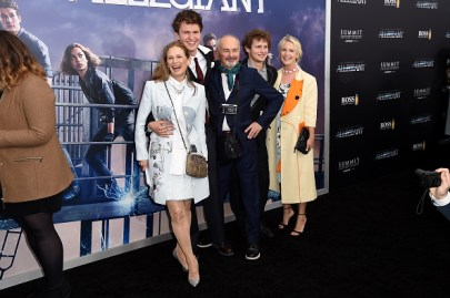 "NEW YORK, NEW YORK - MARCH 14: (L-R) Grethe Barrett Holby, Ansel Elgort, and Arthur Elgort and family members attend the New York premiere of ""Allegiant"" at the AMC Lincoln Square Theater on March 14, 2016 in New York City. (Photo by Nicholas Hunt/Getty Images)"