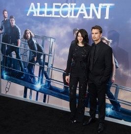 "NEW YORK, NY - MARCH 14: Actors Shailene Woodley (L) and Theo James attend the ""Allegiant"" New York premiere at AMC Lincoln Square Theater on March 14, 2016 in New York City. (Photo by Michael Stewart/Getty Images)"