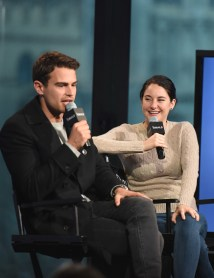 """NEW YORK, NY - MARCH 14: Shailene Woodley and Theo James attend AOL Build Speaker Series """"Allegiant"""" at AOL Studios In New York on March 14, 2016 in New York City. (Photo by Dave Kotinsky/Getty Images)"""